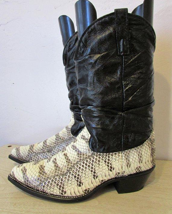 84b5191f965 NOS Men's Dingo Boots Vintage 1980's Acme Black Leather Snakeskin ...