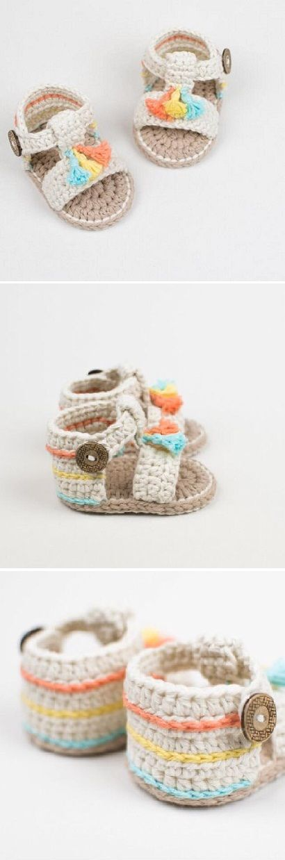 Crochet Cute and Easy Baby Booties/Sandals | ZAPATITOS | Pinterest ...