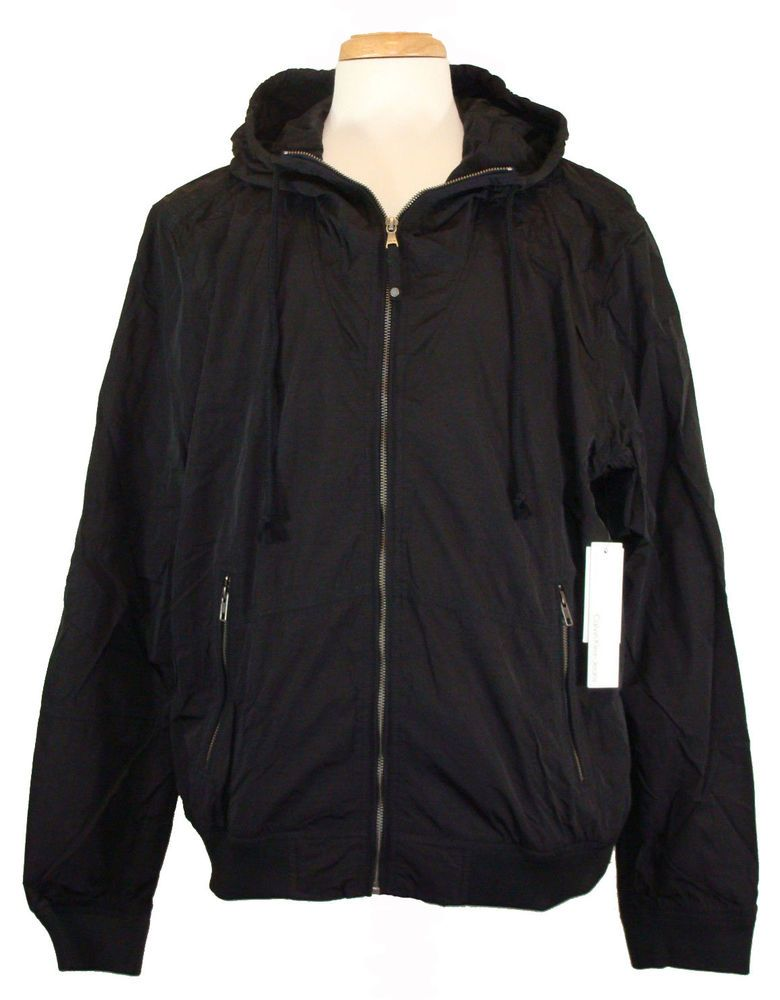 Calvin Klein Mens Jacket Hooded Windbreaker Zip Black Sz XXL 2XL NEW NWT $129.50 #CalvinKlein #Windbreaker