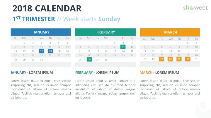 Free Calendar  Powerpoint Template  St First  Week Starts