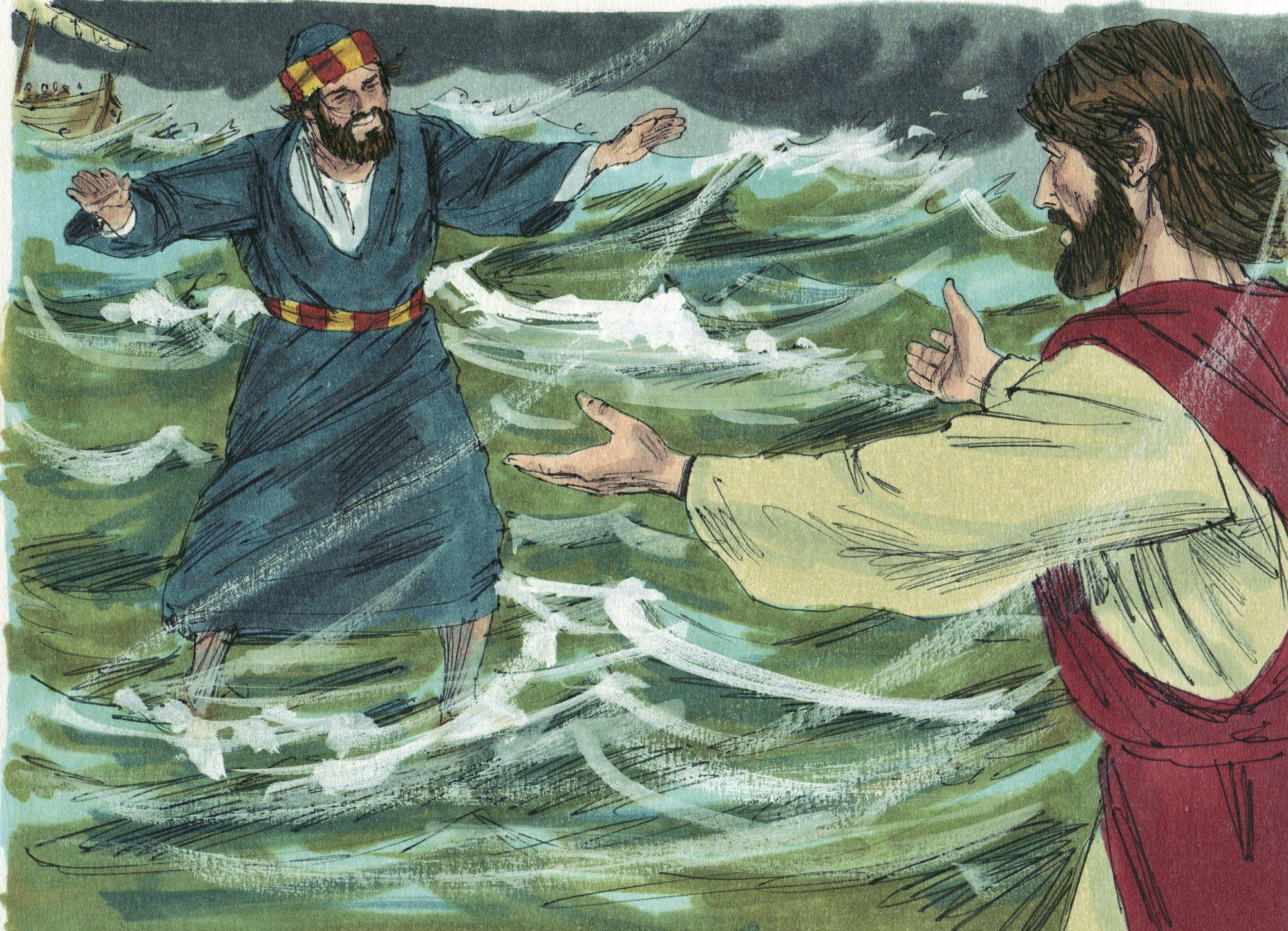 Peter walks on water visual Jesus walk on water, Peter