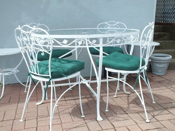 White Patio Table And Chair Set: Wrought Iron Patio Set