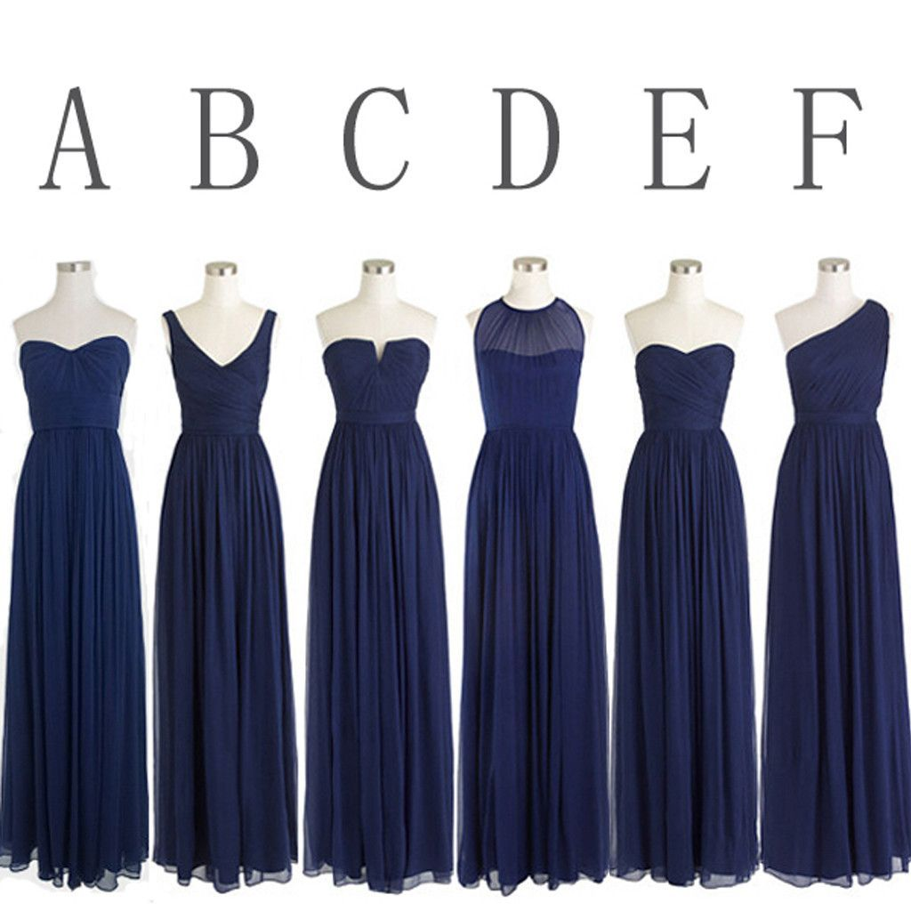 Classic popular navy blue mismatched chiffon formal cheap long classic popular navy blue mismatched chiffon formal cheap long bridesmaid dresses wg302 ombrellifo Images