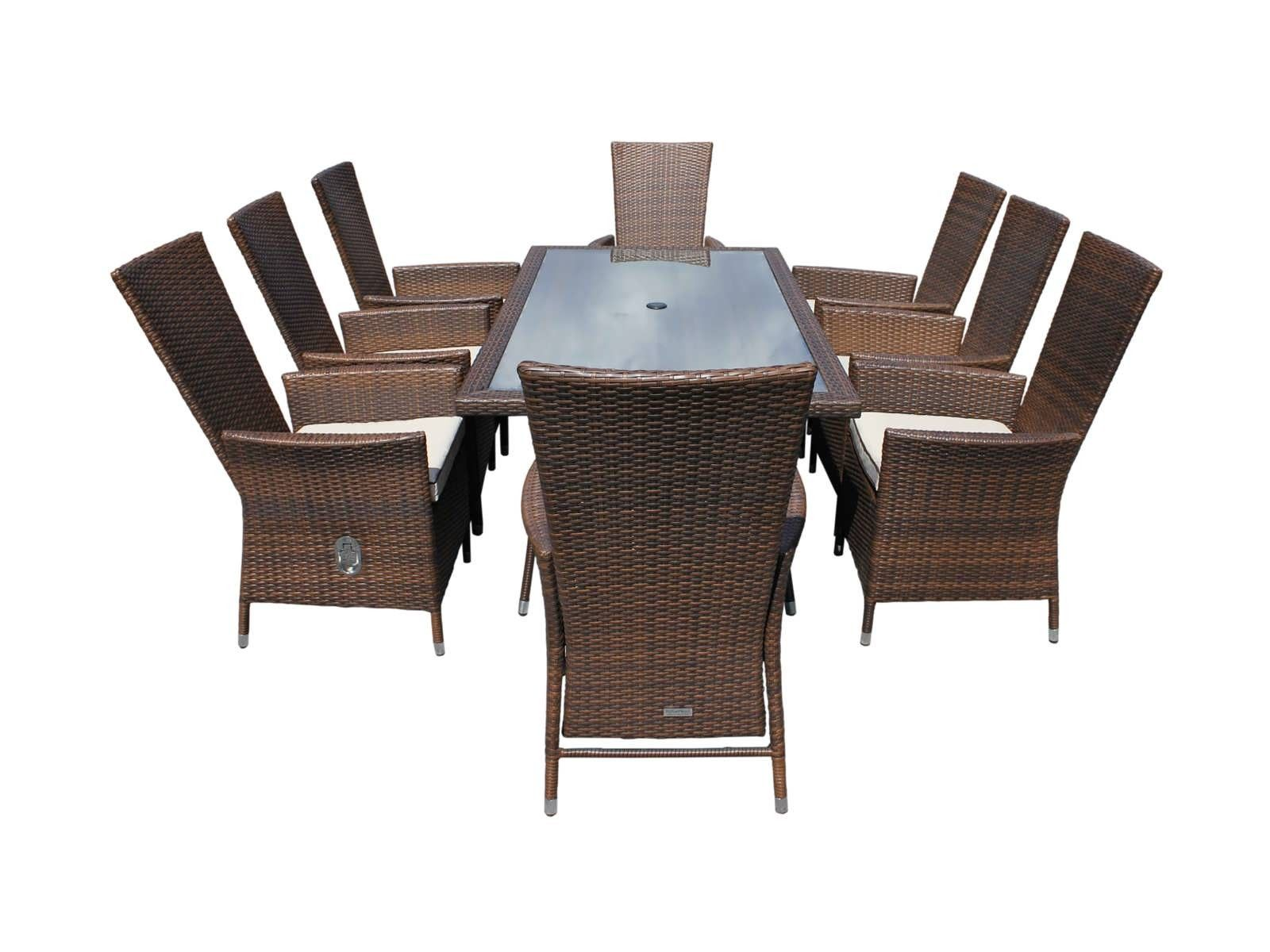 8 reclining Cambridge chairs with rectangular table dining set ...