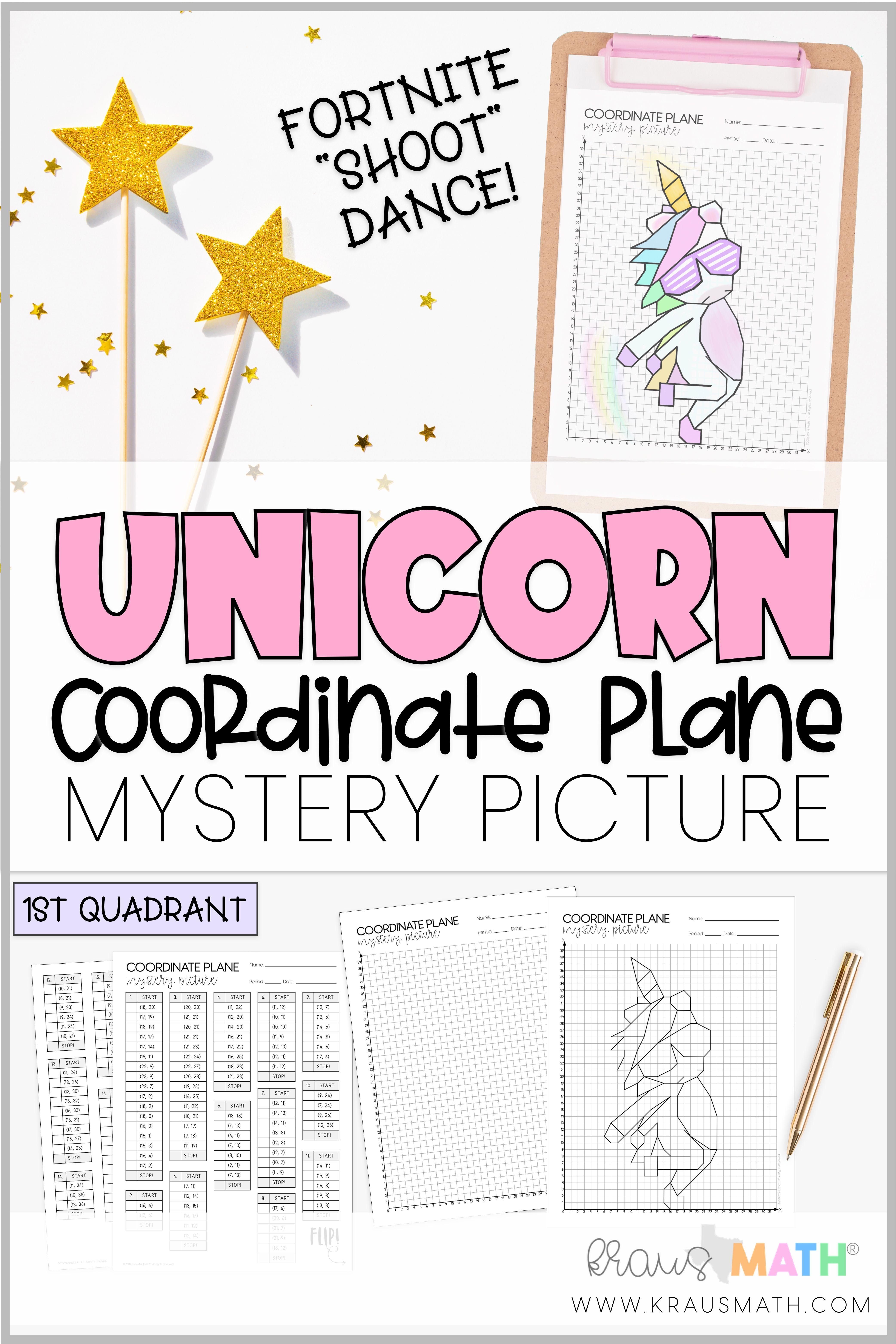 Unicorn Fortnite Shoot Dance Coordinate Plane Mystery