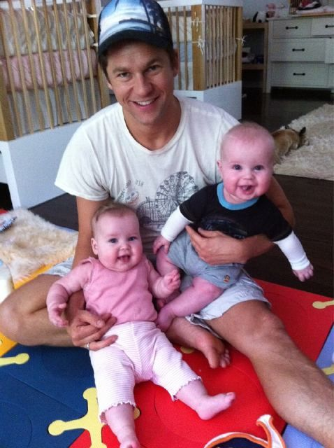 David Burtka, with the adorable twins Harper and Gideon, at six months old.