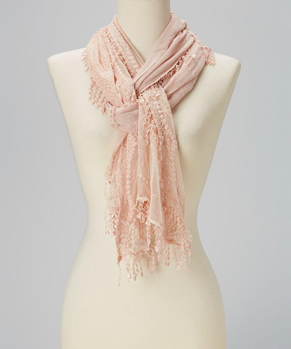 Light Pink Crochet Tassel Linen-Blend Scarf | Daily deals for moms, babies and kids