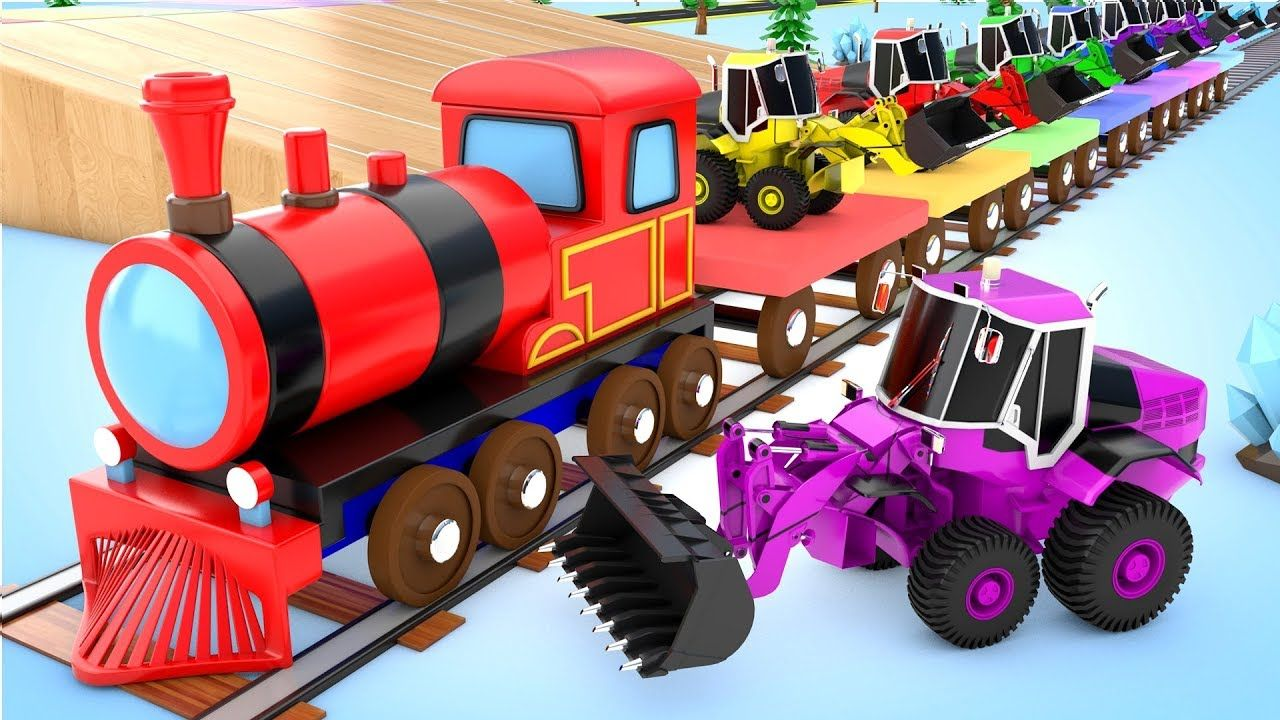 Children Learning Colors With Monster Jcb Trucks Train Parking Vehicle F Kids Fun Play Kids Playing Learning Colors