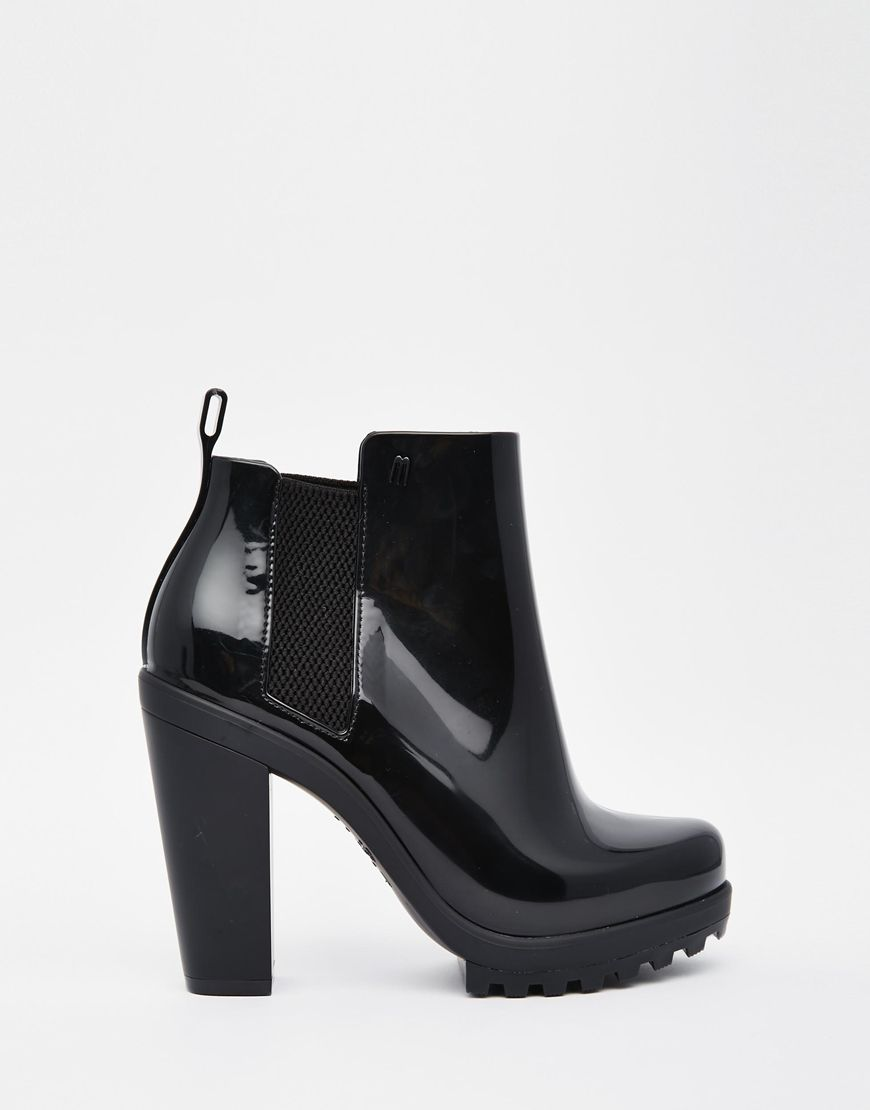 1f3216119b23 Melissa Soldier Black Heeled Chelsea Ankle Boots | Fashion | Black ...