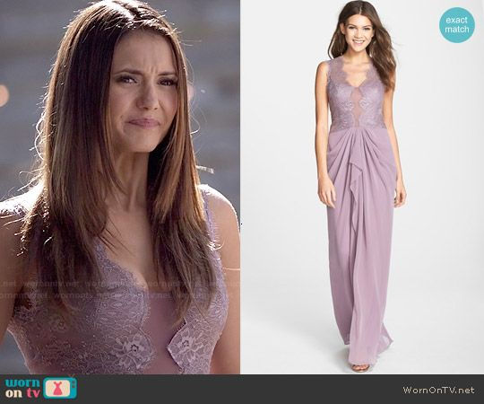 Elena's purple lace gown on The Vampire Diaries.  Outfit Details: https://wornontv.net/48753/ #TheVampireDiaries