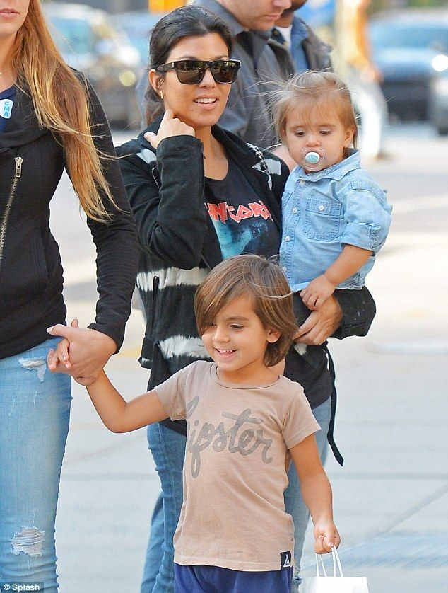 Adorable: Mason Dash Disick was wearing a cute 'hipster' T-shirt alongside with him his mother Kourtney Kardashian & his sister Penelope Disick