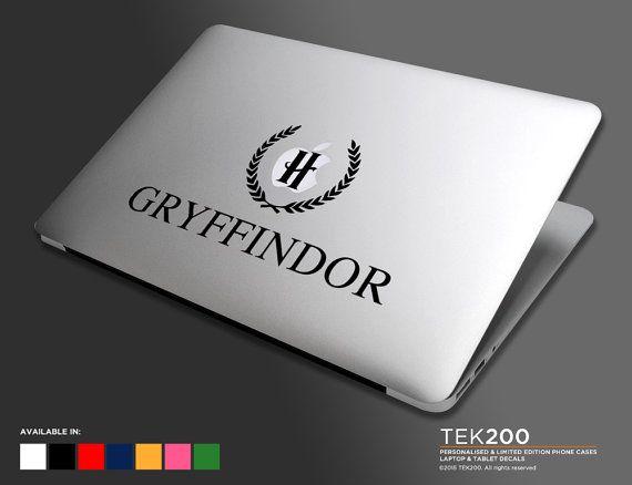 Macbook sticker hogwarts h crest logo laptop die cut vinyl decals harry potter house names