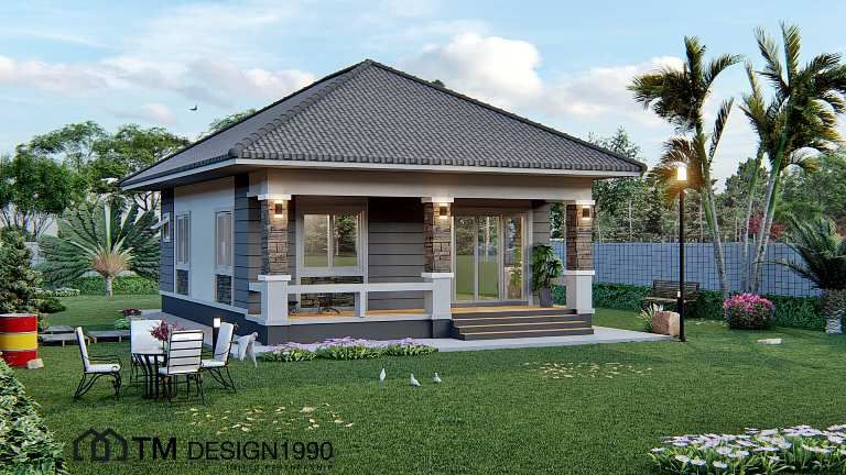 Amazing Two Bedroom Bungalow With Pyramid Hip Roof House And Decors In 2020 House Roof Hip Roof Bungalow
