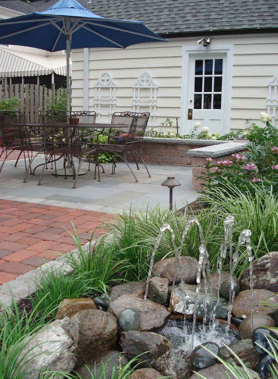 Attractive Outdoor Living Space With Water Feature Farm