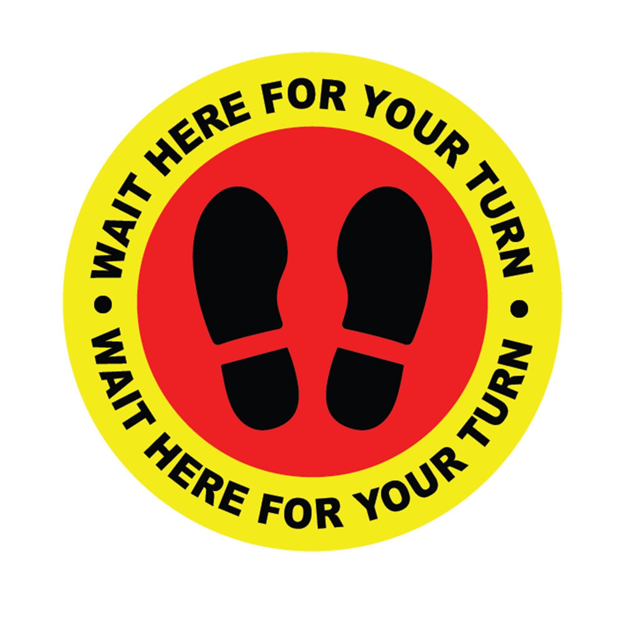 Social distancing Self adhesive Vinyl Circle stickers Wait