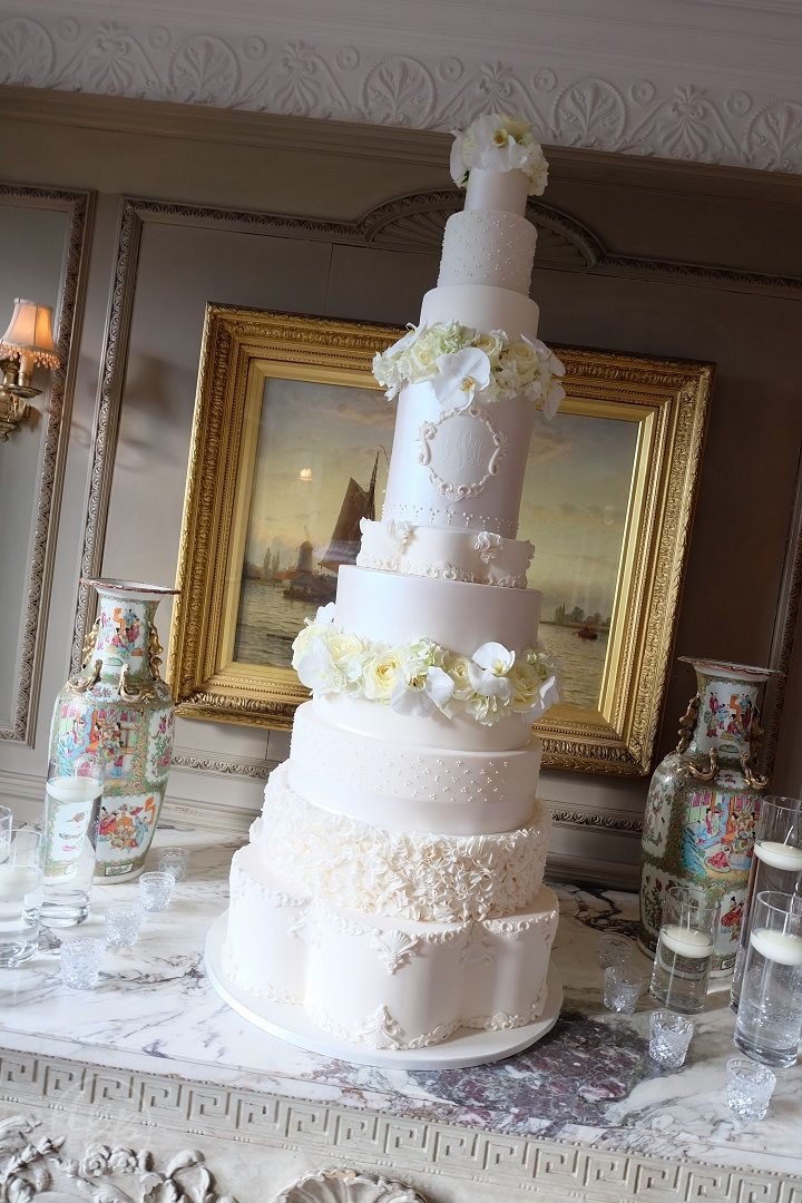 5 Foot Luxury wedding cake with custom cake monogram