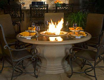 Outdoor Dining Table With Fire Pit In Middle