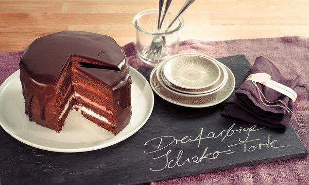 Dreifarbige Schoko Torte Rezept Kochrezepte Pinterest Kuchen