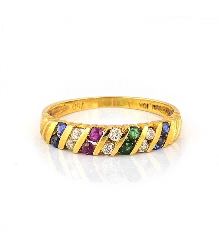e67446be7782 Sortija de oro amarillo de 18kt con piedras preciosas  diamantes ...