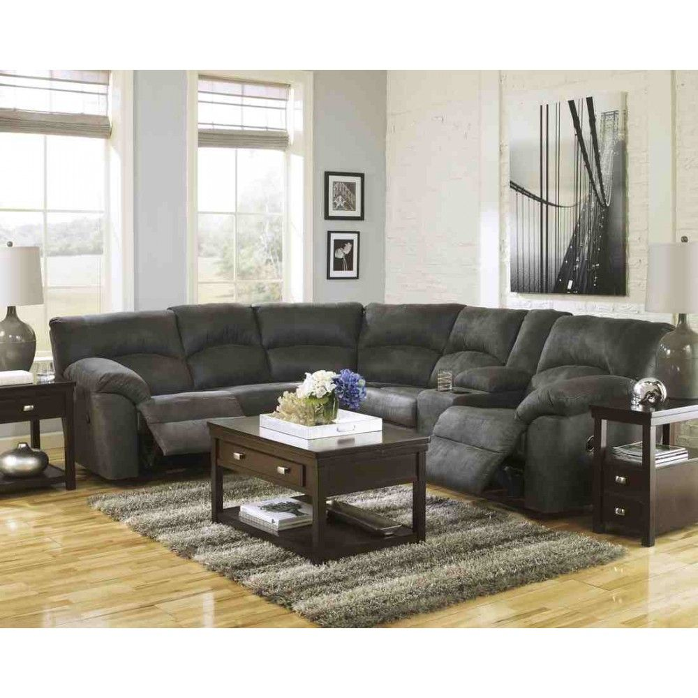 Living Room Sets Austin Tx ashley furniture tambo reclining sectional in pewter | space