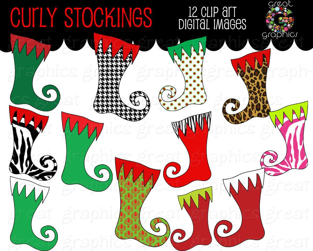 Christmas clip art, printable Christmas clipart stocking, digital Christmas stocking clip art images, stocking clip art. $5.00, via Etsy.