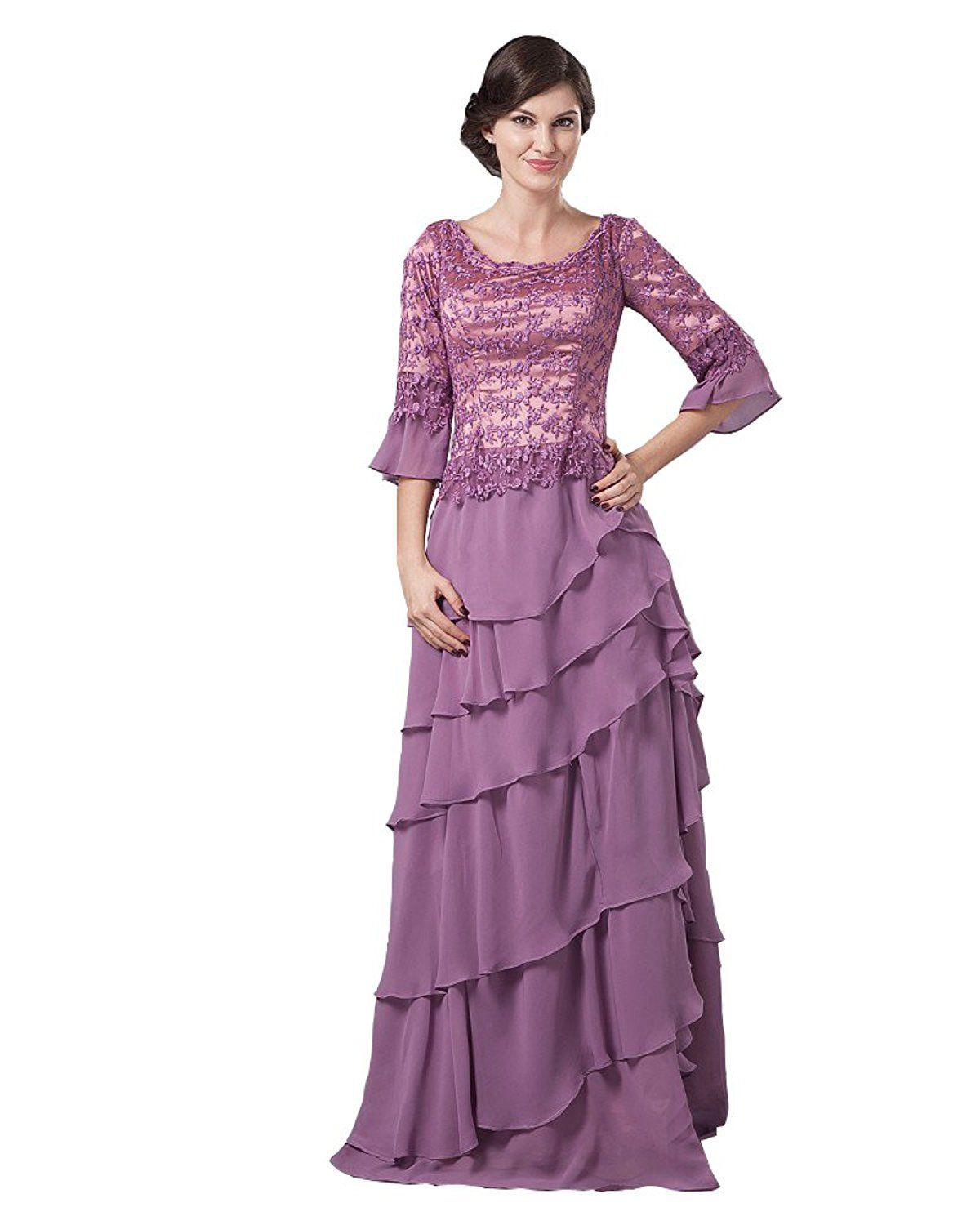 Maternity dress for wedding guest  Angel Formal Dresses Jewel Floor length Chiffon And Lace Mother Of