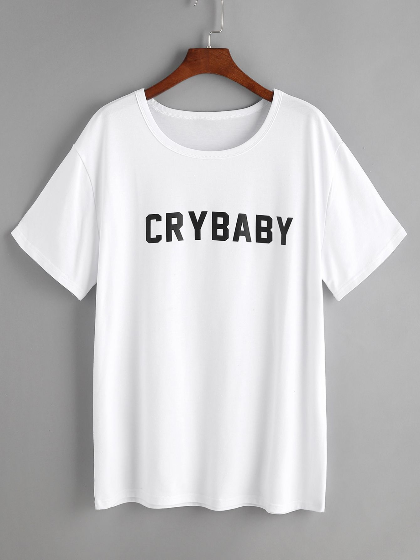 2f1bfc6087 Shop White Letter Print T-shirt online. SheIn offers White Letter Print  T-shirt & more to fit your fashionable needs.