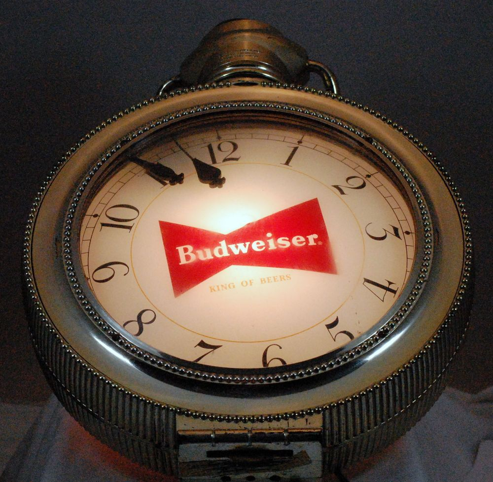 Vintage Budwieser Pocket Watch Beer Sign Clock Light 1960s #Budweiser