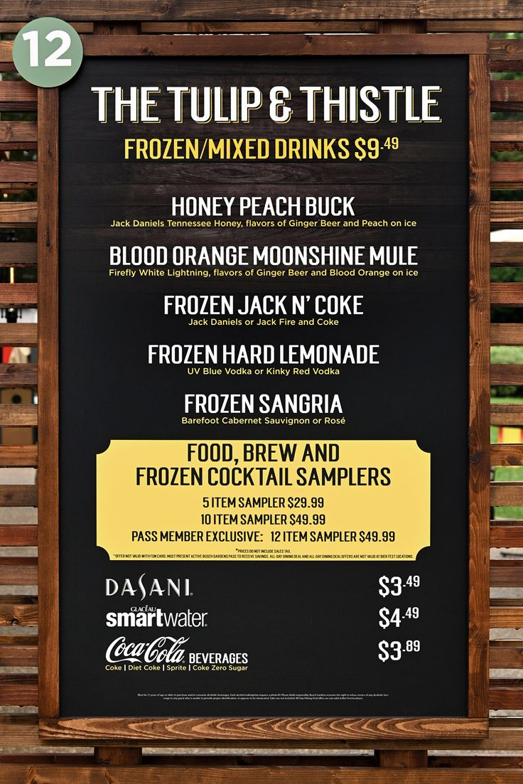 The Tulip and Thistle menu and price board for Bier Fest