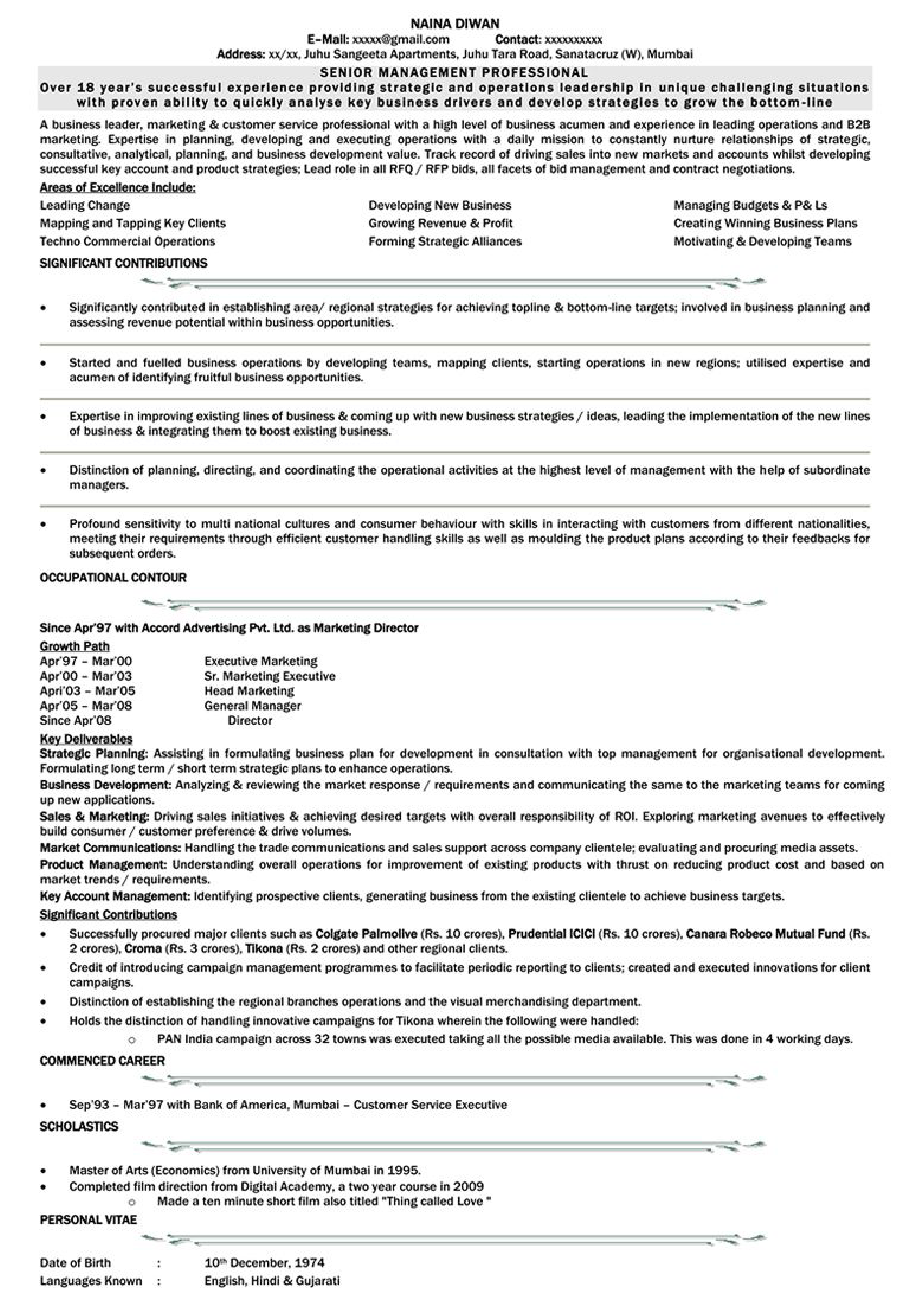 marketing resume format for experience