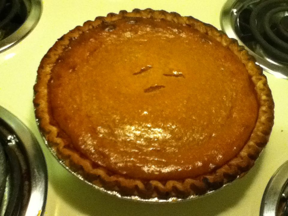 Perfect pumpkin pie recipe 1 15 oz can pumpkin (about 2 cups) 1 14 oz can sweetened condensed milk 2 large eggs 1 tsp ground cinnamon  1/2 tsp ground ginger 1/2 tsp ground nutmeg 1/2 tsp salt 1 (9 in) unbaked pie crust  Set oven to 425•F. Whisk all ingredients together. Pour into crust. Bake at 425 for 15 minutes. Then lower oven temp to 350 and bake for 35-40 mins. Enjoy!