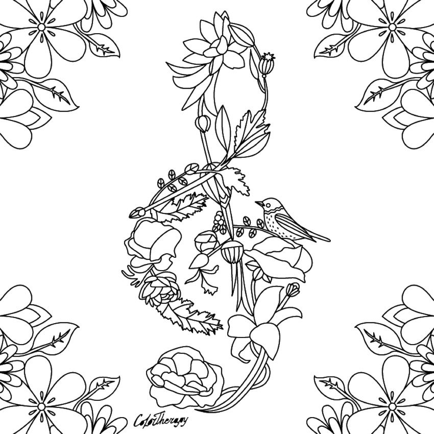 Coloring - Floral treble clef   Musica❤   Pinterest   Treble clef ...