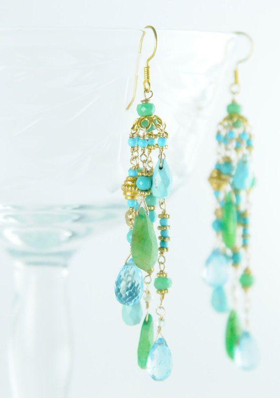 Turquoise Chandelier Earrings Gemstone par BareandMeWeddings