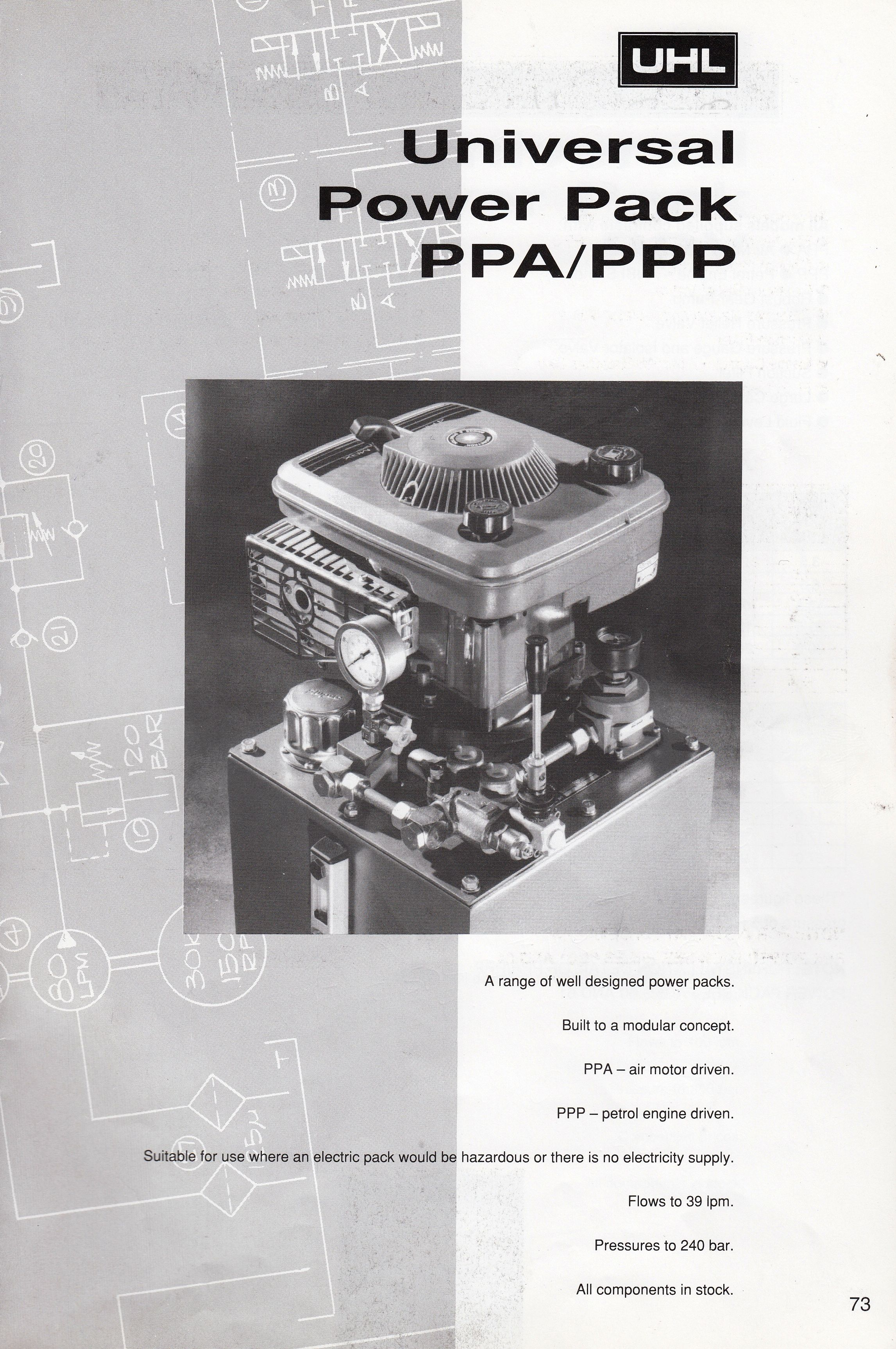 Petrol engine and air motor driven HydraulicPowerPacks