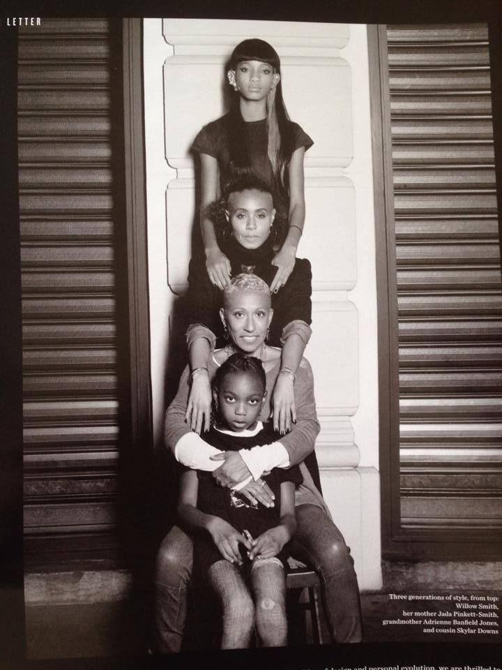 A family of women: Karl Lagerfeld photo shoot - Willow Smith, Jada Pinkett Smith, Adrienne Banfield Jones,  Skylar Downs.