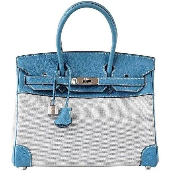 4f43d42c6c4 Preowned Hermes Birkin 30 Bag Toile Blue Jean Togo Leather Palladium  (20