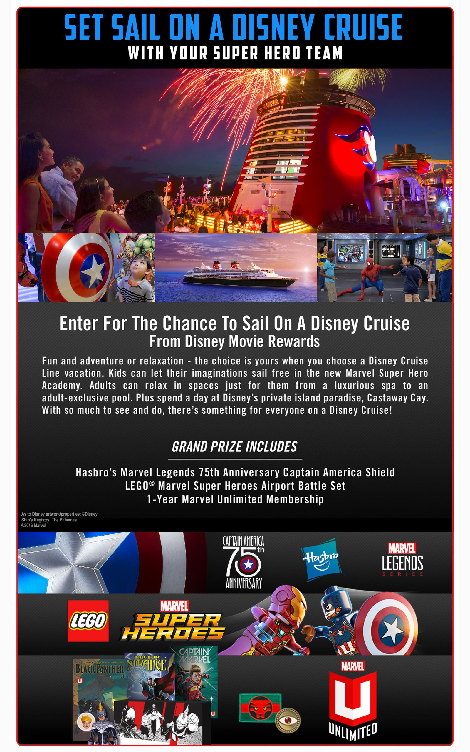 ca972b92372ee Disney Movie Rewards  Marvel s Captain America Civil War Sweepstakes Win Disney  Cruise Line vacation for four