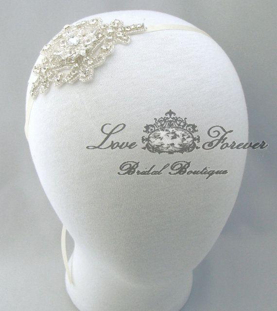 Rhinestone Wedding Headband Satin Crystal by LoveForeverBridal, $37.00