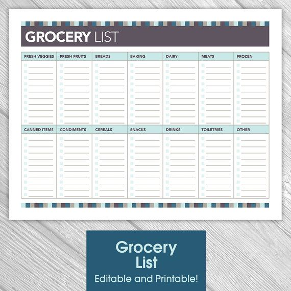 Kitchen Organization List: Printable Editable Grocery List