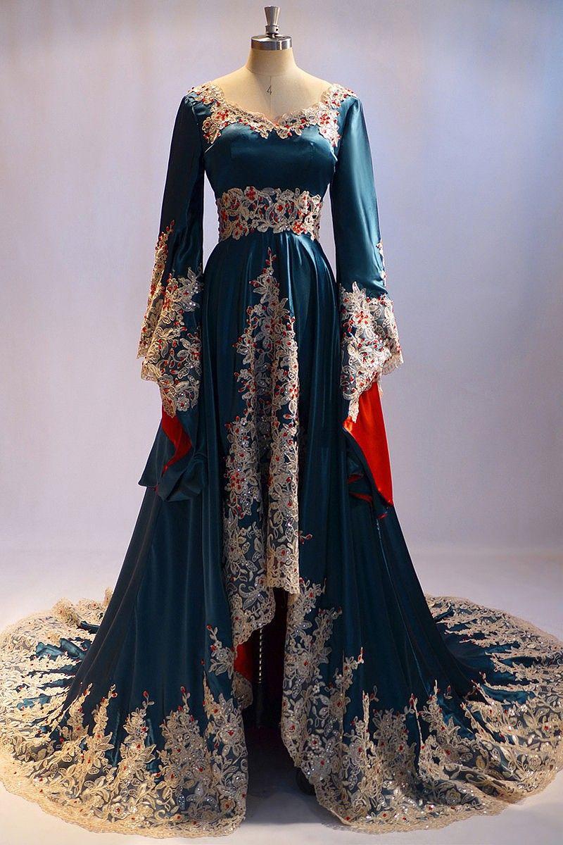 Me-14 Dubai Arabic Long Sleeve Evening Dress For Muslim Women