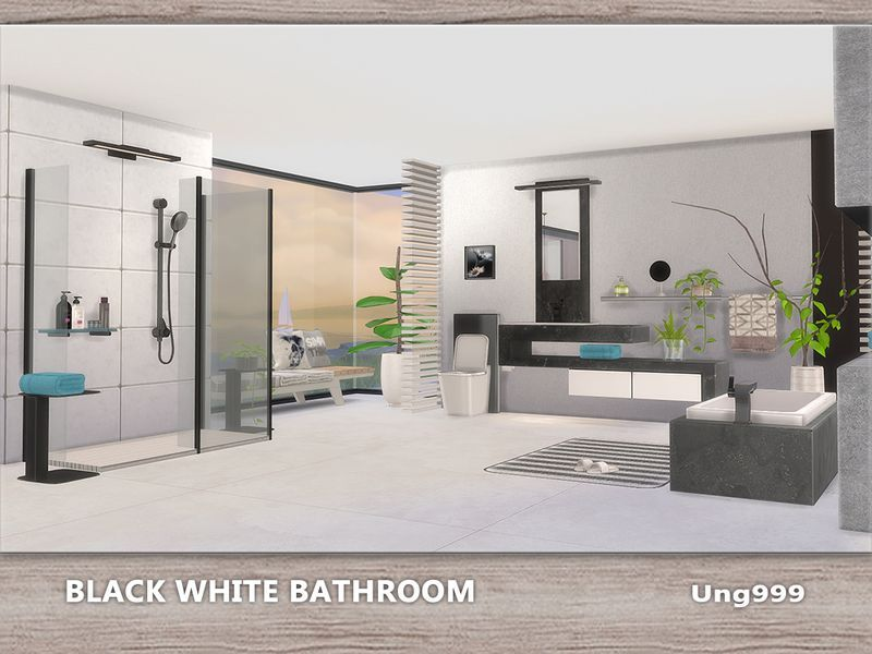 A Set Of Modern Bathroom Which Includes The Following 15 Items Found In Tsr Category Sims 4 Bathroom S Black White Bathrooms White Room Decor Modern Bathroom
