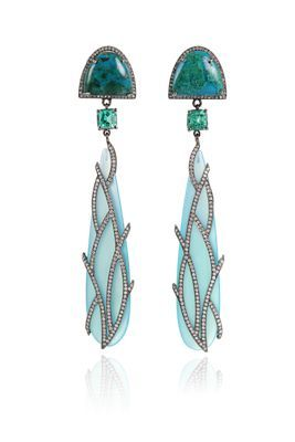 Colette Turquoise, Emerald & Blue Chalcedony Earrings