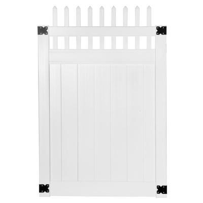 Veranda Pro Series 4 Ft W X 6 Ft H White Vinyl Woodbridge Picket Top Privacy Fence Gate 144718 Fence Gate White Vinyl Wood Bridge