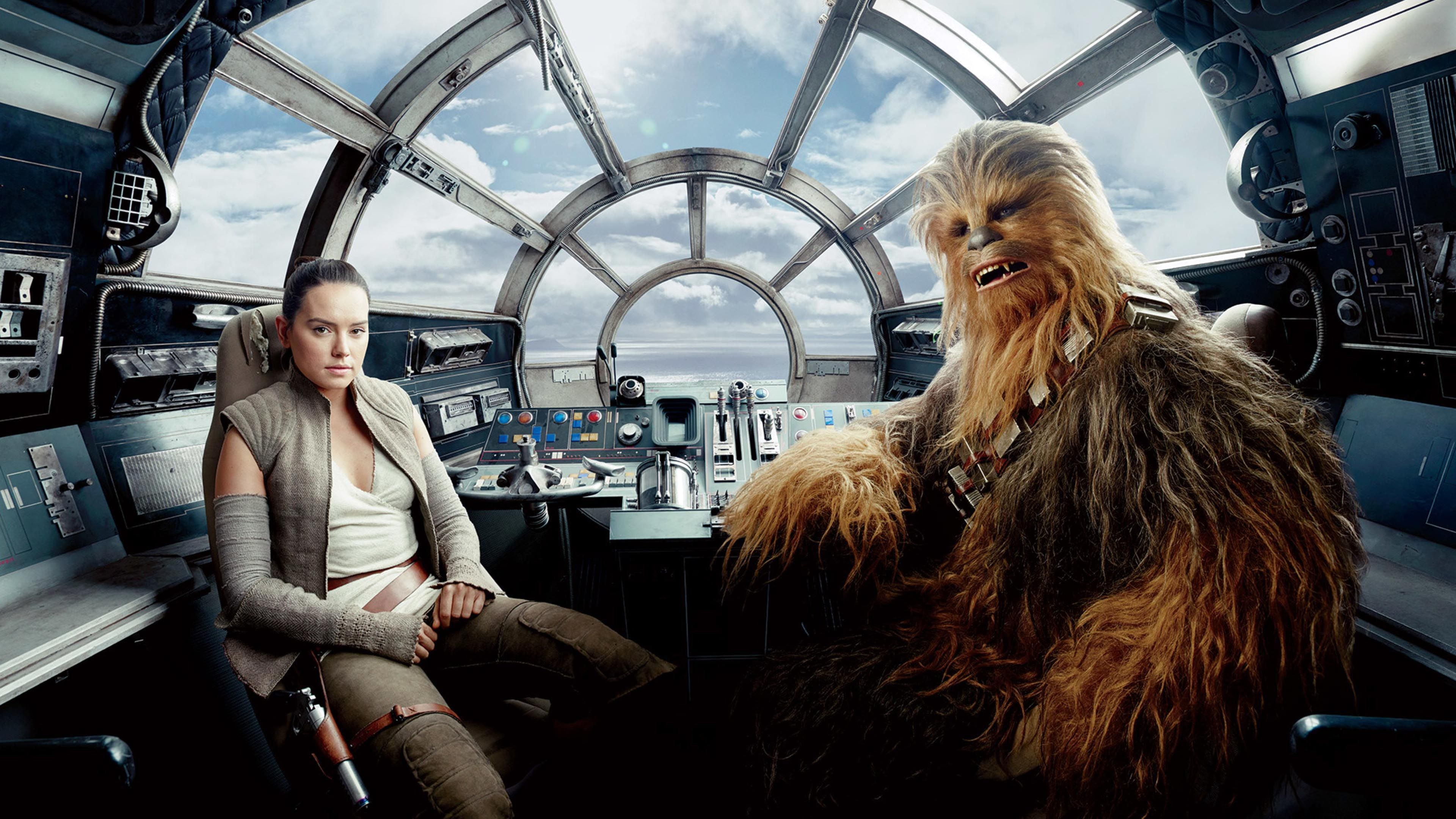 Rey And Chewbacca In The Millennium Falcon S Cockpit Star Wars The Last Jedi 3840x2160 Wallpaper New Star Wars Star Wars Chewbacca Star Wars Art