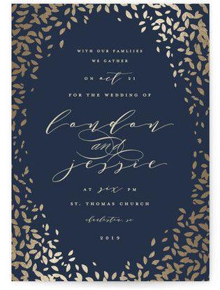 Cascading Corners Foil-Pressed Wedding Invitations #rusticweddings #rusticweddinginvitations #rusticweddinginspiration #blueweddinginvitations