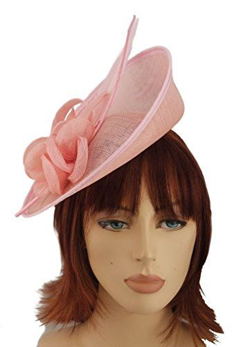 Pink Sinamay Shaped Upturned Hatinator Hair Fascinator wi... https   www 1229f4c24dc