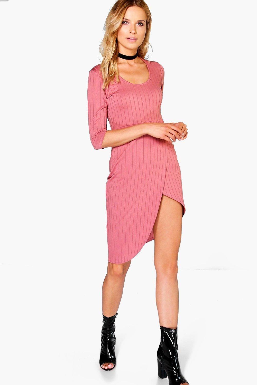 Vestido Bodycon Cruzado Acanalado Hayley | clothes | Pinterest