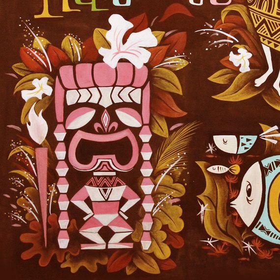 Hawaiian Tiki Hula Wall Decor Polynesian Pop Mid Century Modern