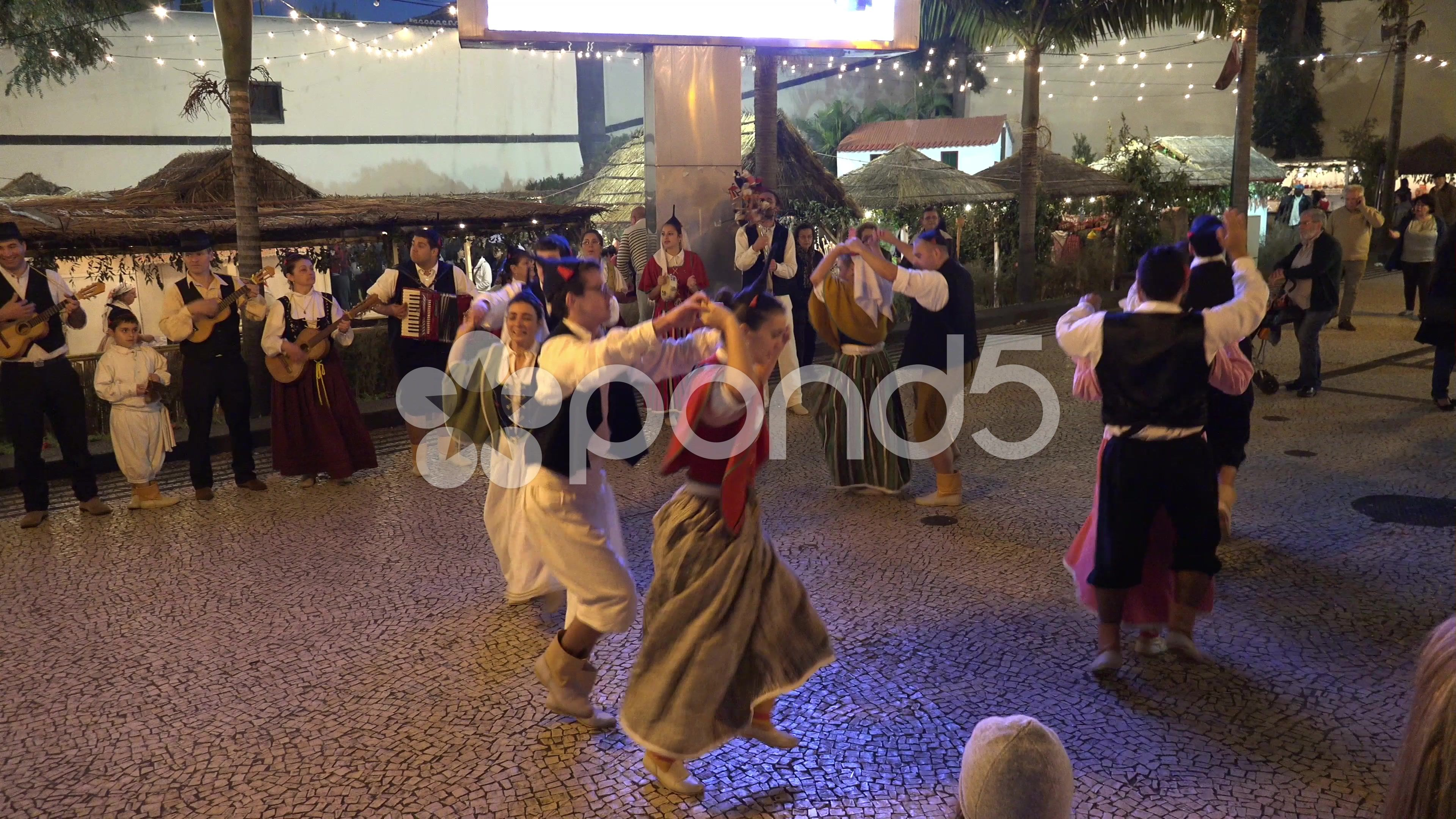 4k Traditional Madeira dance and music street night event - Stock Footage   by Beckhusen