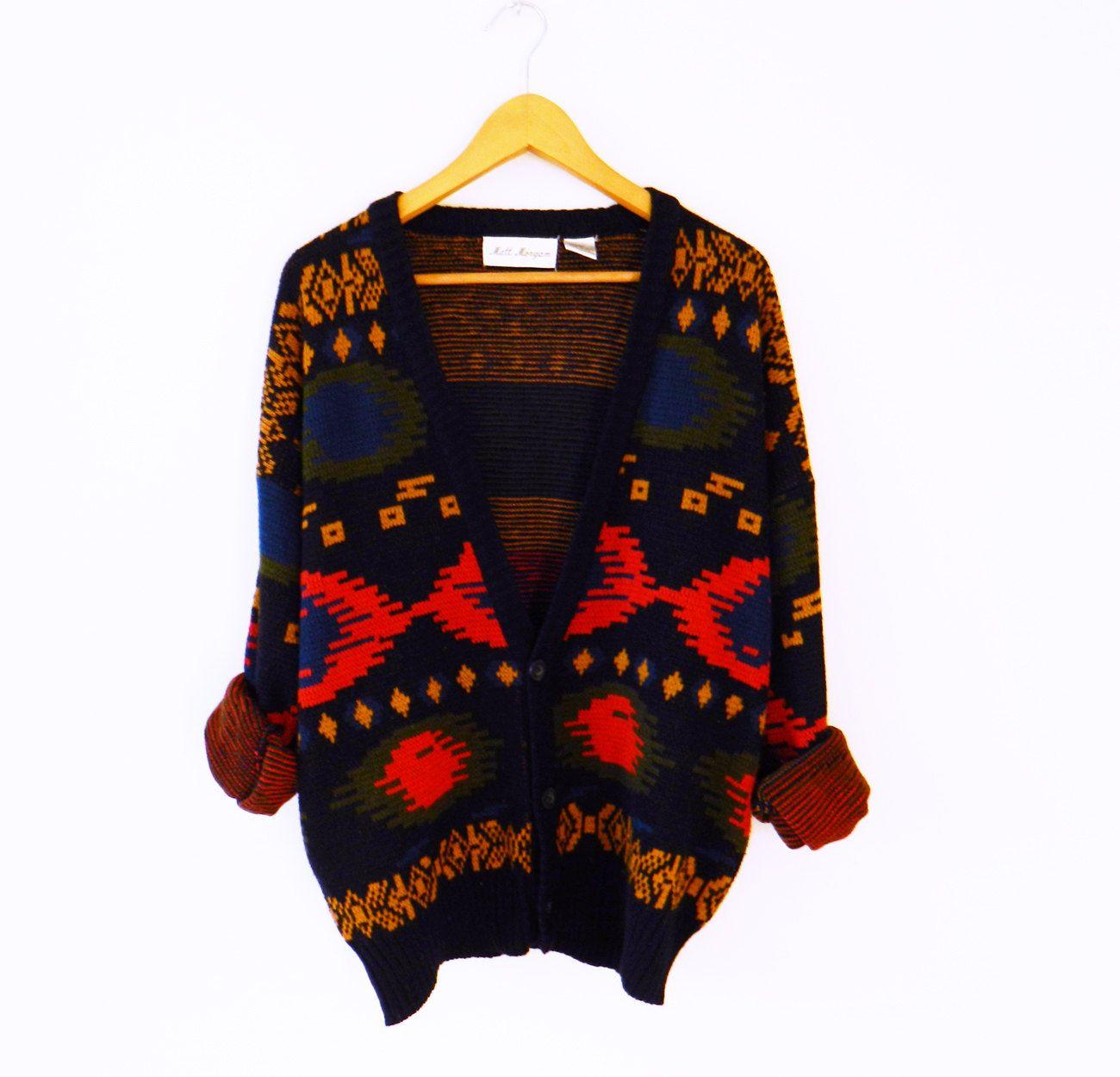 Tribal Vintage Oversized Cardigan Sweater / Rad Vintage Boho ...